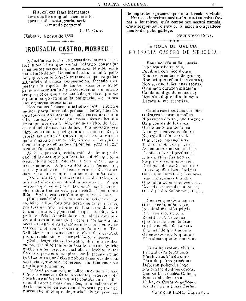 """""""¡Rousalía Castro morreu!"""", por Cora e """"A rola de Galicia Rousalía Castro de Murguía"""" por Lamas. A Gaita Gallega, 16/8/1885."""
