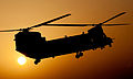 A RAF Chinook Helicopter Takes Off on a Dawn Mission Over Helmand, Afghanistan MOD 45153340.jpg