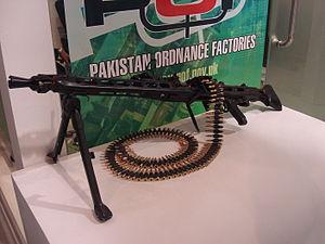 Pakistan Ordnance Factories - The Rheinmetall MG 3 machine gun, produced under license by POF, on display at the IDEAS 2008 Defense Exhibition in Karachi, Pakistan