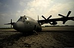 A U.S. Air Force C-130H Hercules aircraft from the 746th Expeditionary Airlift Squadron sits on the flight line before cargo is unloaded at PAF Base Chaklala, Pakistan, Aug. 22, 2010, during humanitarian relief 100822-F-KV470-157.jpg