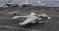 A U.S. Navy E-A-6B Prowler aircraft assigned to Electronic Attack Squadron (VAQ) 142 lands aboard the aircraft carrier USS Nimitz (CVN 68) in the Indian Ocean June 7, 2013 130607-N-TW634-427.jpg
