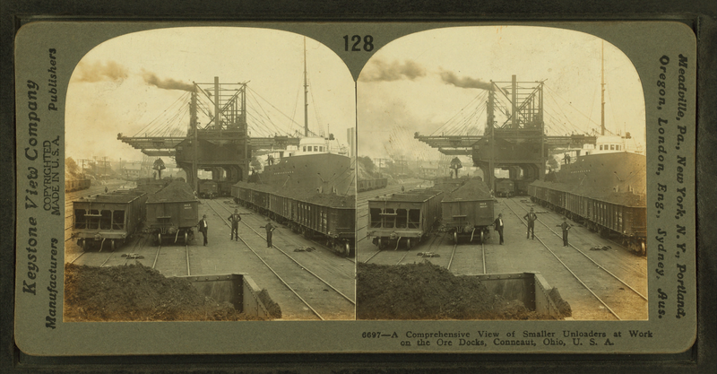 File:A comprehensive view of smaller uploaders at work on the oar docks, Conneaut, Ohio, by Keystone View Company.png