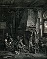 A family group in a hovel sitting around a fire with bread a Wellcome V0038685.jpg