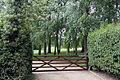 A gate between hedges at Theydon Mount Essex England.JPG