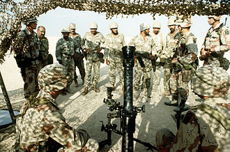 Armed Forces of Saudi Arabia - SANG soldiers receiving mortar training from a U.S. soldier