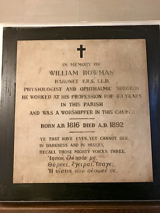 Sir William Bowman, 1st Baronet - A memorial to Sir William Bowman, 1st Baronet, in St James's Church, Piccadilly.