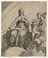 A personification of Philosophy sitting on clouds with her feet resting on a globe, two putti at right holding a tablet MET DP854383.jpg