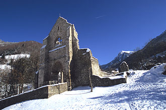 Aulps Abbey - Aulps Abbey under the snow, winter 2008