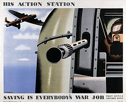 World War II British poster depicting the rear-gunner of a Halifax bomber