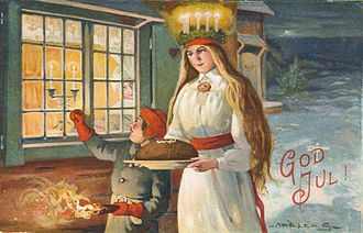 Saint Lucy's Day - Christmas season card with Lucia in the snow.