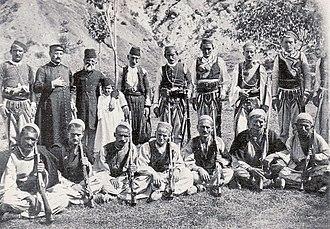 Mirdita - The Ottoman kaimakam of Mirdita, Marka Gjoni, Don Domenico, and other armed Mirdita tribesmen (1890s)