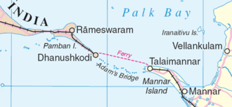 "Geography of Sri Lanka - Rama's Bridge, a shoal ""connecting"" (northwestern) Sri Lanka (Talaimannar on Mannar island in that district) and (southern) India (Dhanushkodi (extinct)/Rameswaram in Ramanathapuram District) between the Gulf of Mannar (southwest) from the Palk Strait (northeast)."