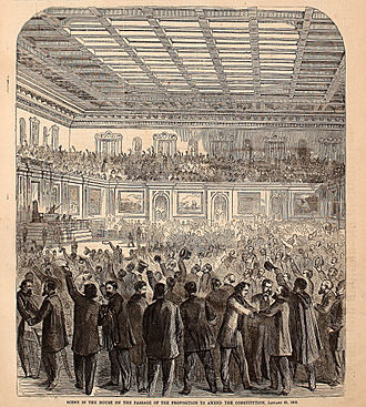 Thirteenth Amendment to the United States Constitution - Celebration erupts after the amendment is passed by the House of Representatives.