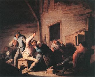 "18th-century history of Germany - ""Peasants in a Tavern"" by Adriaen van Ostade (c. 1635), at the Alte Pinakothek, Munich"