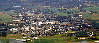 Tillamook, Oregon - Aerial view of Tillamook