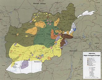 Mujahideen - The areas where the different mujahideen forces operated in 1985