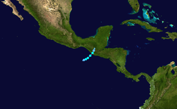 The short track of Agatha towards the Mexico/Guatemala border.