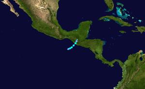 2010 Guatemala City sinkhole - Track of Tropical Storm Agatha