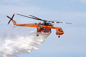 Sikorsky S-64 Skycrane - An Erickson S-64 making a water drop