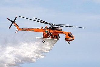Sikorsky S-64 Skycrane - An Erickson S-64 making a water drop