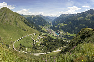 Gotthard Pass - View of Airolo from Gotthard Pass