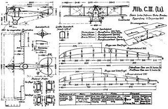 Albatros C.III - Albatros C.III German World War 1 reconnaissance and training biplane drawing