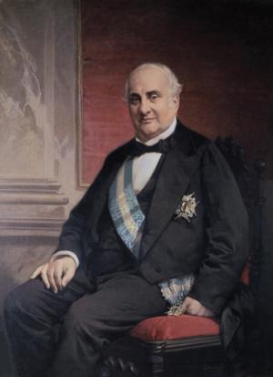 Alejandro Mon y Menéndez - Alejandro Mon, wearing the Grand Cross of the Order of Charles III, by José Casado del Alisal.