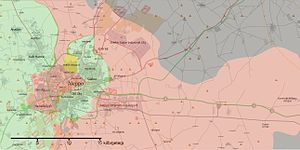 Military tactics - The Syrian Arab Army seeking to encircle rebels in Aleppo (30 August) to cut supply lines.