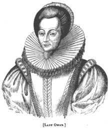 "A black-and-white engraving of a woman, visible up to her waist, with the caption ""Lady Owen."""