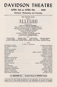 Printables In Music What Does Allegro Mean allegro musical wikipedia program for allegros us tour april 1949 davidson theatre milwaukee