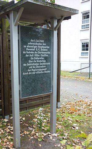 Berlin Declaration (1945) - Memorial tablet in 2012.