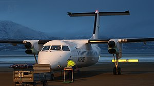 Alta Airport - Widerøe Dash-8 311 at noontime during polar night