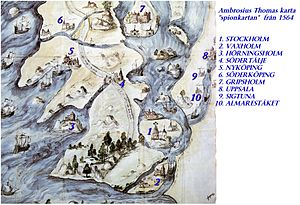 1564 in Sweden - Map of the spy Ambrosius Thomas.