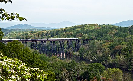 A Virginian Northeast Regional crosses the James River near Lynchburg in 2011 Amtrak Across the James.jpg