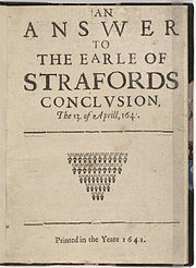 An Answer to the Earle of Strafords Conclusion 1641