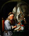 An alchemist in his laboratory. Oil painting by a follower o Wellcome V0017635.jpg