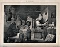 An alchemist with an assistant in his laboratory. Lithograph Wellcome V0025561.jpg