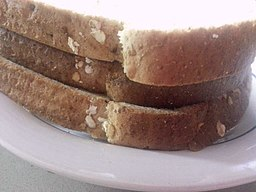 An image of a toast sandwich, shot from the side