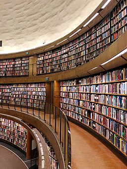 An image of the stacks of the Stockholm Public Library