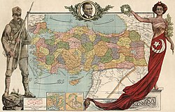 Personification of Turkey on a map from 1927. After the years, in 1939, Turkey annexed the Hatay State.