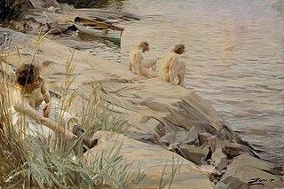 Girls Bathing in the Open Air (Out of Doors) ; Bathing Girls, Outside ; Outdoors