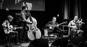 Gypsy jazz - A contemporary gypsy jazz ensemble: the Angelo Debarre quartet (France) performing in 2016