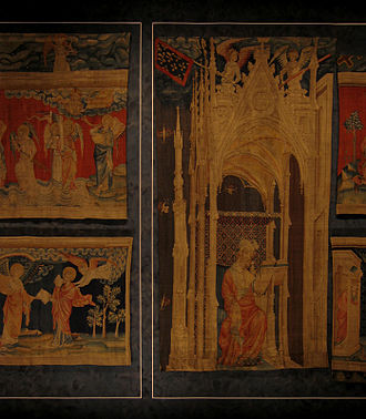 Apocalypse Tapestry - Detail of the tapestry (reverse side), showing an important figure seated under a ceremonial shade
