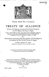 Anglo-Egyptian treaty of 1936 1936 treaty signed between the United Kingdom and the Kingdom of Egypt