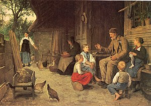 Cultural heritage - The Grandfather tells a story, by Albert Anker, ca. 1884.