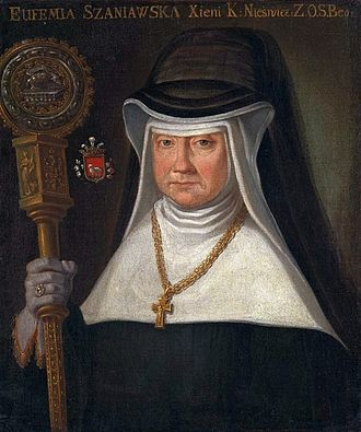 Crosier - Eufemia Szaniawska, Abbess of the Benedictine Monastery in Nieśwież with a crosier, c. 1768, National Museum in Warsaw