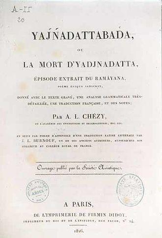 Antoine-Léonard de Chézy - Title page of Yajnadattabada, translated by Antoine-Léonard Chézy.
