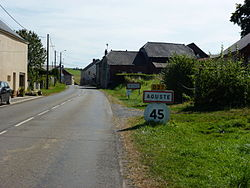 Aouste (Ardennes) city limit sign.JPG