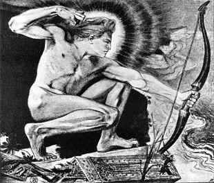 Apollo scaglia le frecce mortali contro l'accampamento acheo, penna e carboncino su carta, 10 x 12,5 cm, proprietà privata.