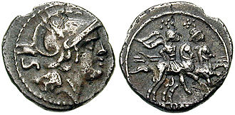 Roman Republican currency - O: Head Roma Right. IIS